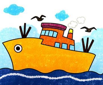 船和大海儿童画-海盗船