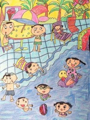 春夏秋冬儿童画-夏天热闹的海边