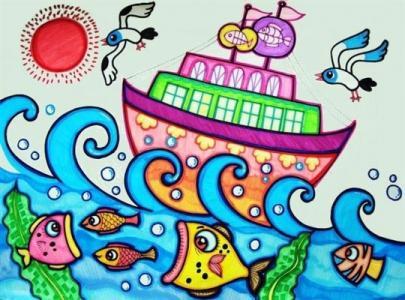 船和大海儿童画-大海中的大船