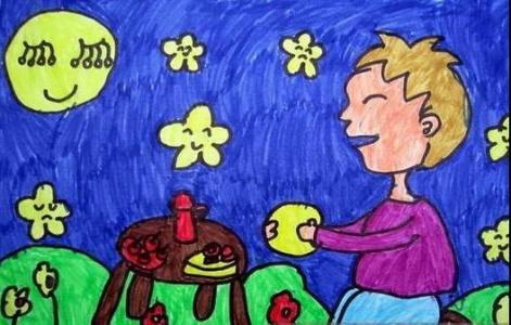 月亮儿童画-吃月饼看月亮