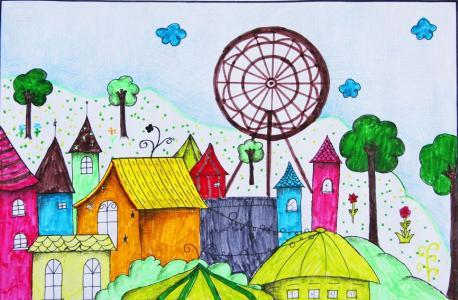 最美丽家乡儿童画大全-美丽的家园