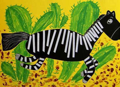 斑马儿童画-快乐的小斑马