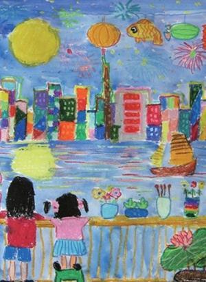 月亮儿童画-桥上看月亮