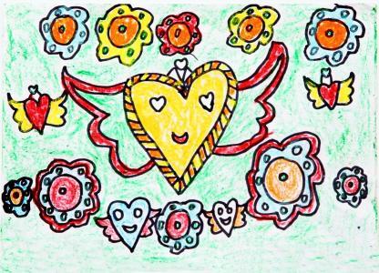 美丽的天使儿童画-天使的翅膀
