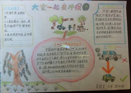 小学生一起环保手抄报