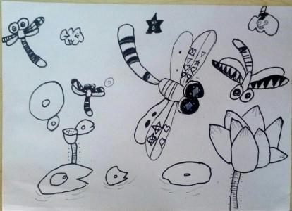 蜻蜓和荷花